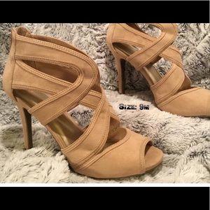 Tan Bandage Strap Style Open Toe Heeled Shoes